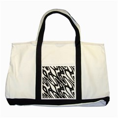 Black And White Wave Abstract Two Tone Tote Bag by Amaryn4rt