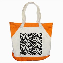 Black And White Wave Abstract Accent Tote Bag by Amaryn4rt