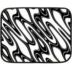 Black And White Wave Abstract Fleece Blanket (mini) by Amaryn4rt