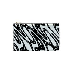 Black And White Wave Abstract Cosmetic Bag (small)  by Amaryn4rt