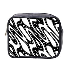 Black And White Wave Abstract Mini Toiletries Bag 2 Side by Amaryn4rt