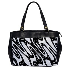 Black And White Wave Abstract Office Handbags by Amaryn4rt