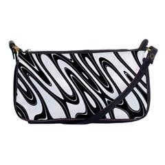 Black And White Wave Abstract Shoulder Clutch Bags by Amaryn4rt