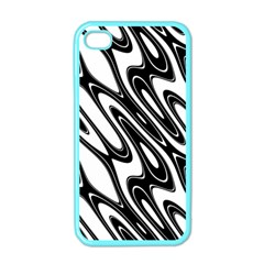 Black And White Wave Abstract Apple Iphone 4 Case (color) by Amaryn4rt