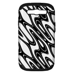 Black And White Wave Abstract Samsung Galaxy S Iii Hardshell Case (pc+silicone) by Amaryn4rt