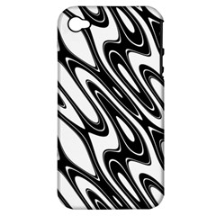 Black And White Wave Abstract Apple Iphone 4/4s Hardshell Case (pc+silicone) by Amaryn4rt