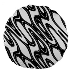 Black And White Wave Abstract Large 18  Premium Round Cushions by Amaryn4rt