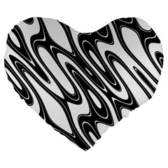 Black And White Wave Abstract Large 19  Premium Heart Shape Cushions by Amaryn4rt