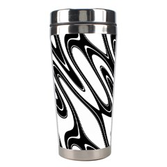 Black And White Wave Abstract Stainless Steel Travel Tumblers by Amaryn4rt