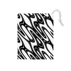 Black And White Wave Abstract Drawstring Pouches (medium)  by Amaryn4rt