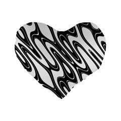Black And White Wave Abstract Standard 16  Premium Flano Heart Shape Cushions by Amaryn4rt