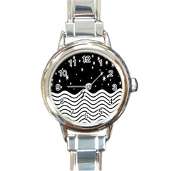 Black And White Waves And Stars Abstract Backdrop Clipart Round Italian Charm Watch