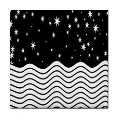 Black And White Waves And Stars Abstract Backdrop Clipart Tile Coasters by Amaryn4rt