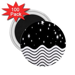 Black And White Waves And Stars Abstract Backdrop Clipart 2 25  Magnets (100 Pack)  by Amaryn4rt