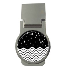 Black And White Waves And Stars Abstract Backdrop Clipart Money Clips (round)