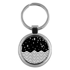 Black And White Waves And Stars Abstract Backdrop Clipart Key Chains (round)  by Amaryn4rt