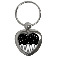 Black And White Waves And Stars Abstract Backdrop Clipart Key Chains (heart)  by Amaryn4rt