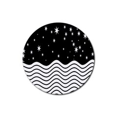 Black And White Waves And Stars Abstract Backdrop Clipart Rubber Round Coaster (4 Pack)  by Amaryn4rt