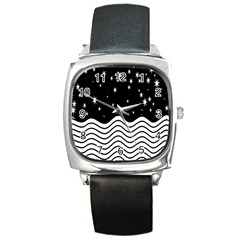Black And White Waves And Stars Abstract Backdrop Clipart Square Metal Watch by Amaryn4rt