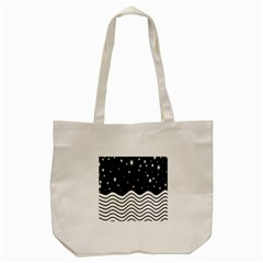 Black And White Waves And Stars Abstract Backdrop Clipart Tote Bag (cream) by Amaryn4rt