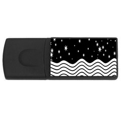 Black And White Waves And Stars Abstract Backdrop Clipart Usb Flash Drive Rectangular (4 Gb) by Amaryn4rt