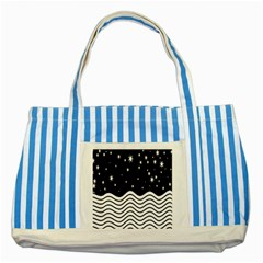 Black And White Waves And Stars Abstract Backdrop Clipart Striped Blue Tote Bag by Amaryn4rt