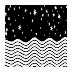Black And White Waves And Stars Abstract Backdrop Clipart Medium Glasses Cloth (2 Side) by Amaryn4rt