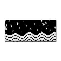 Black And White Waves And Stars Abstract Backdrop Clipart Cosmetic Storage Cases by Amaryn4rt