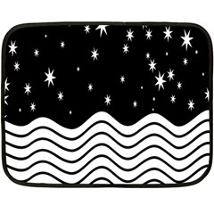 Black And White Waves And Stars Abstract Backdrop Clipart Fleece Blanket (mini)
