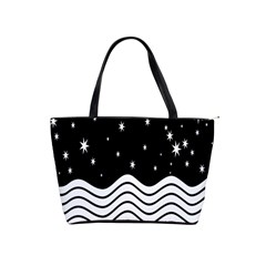 Black And White Waves And Stars Abstract Backdrop Clipart Shoulder Handbags by Amaryn4rt