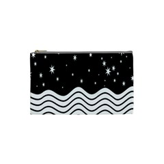 Black And White Waves And Stars Abstract Backdrop Clipart Cosmetic Bag (small)  by Amaryn4rt