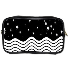 Black And White Waves And Stars Abstract Backdrop Clipart Toiletries Bags by Amaryn4rt