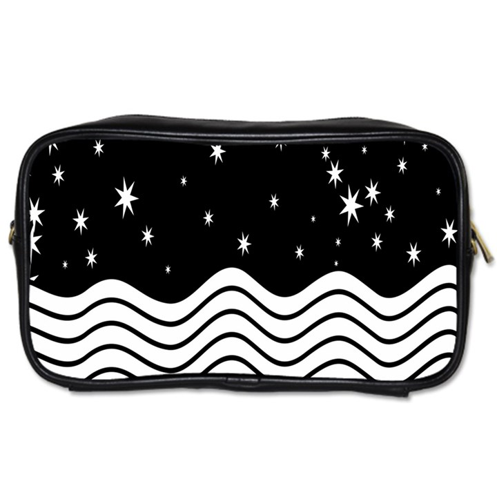 Black And White Waves And Stars Abstract Backdrop Clipart Toiletries Bags 2-Side