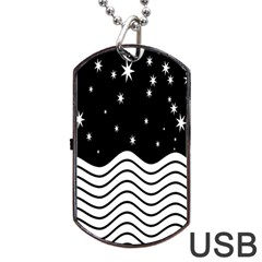 Black And White Waves And Stars Abstract Backdrop Clipart Dog Tag Usb Flash (two Sides) by Amaryn4rt