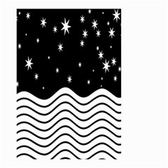 Black And White Waves And Stars Abstract Backdrop Clipart Small Garden Flag (two Sides) by Amaryn4rt
