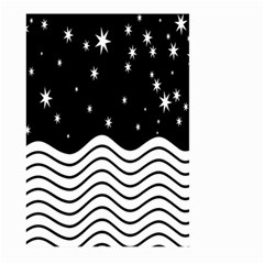 Black And White Waves And Stars Abstract Backdrop Clipart Large Garden Flag (two Sides) by Amaryn4rt