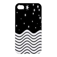 Black And White Waves And Stars Abstract Backdrop Clipart Apple Iphone 4/4s Premium Hardshell Case by Amaryn4rt