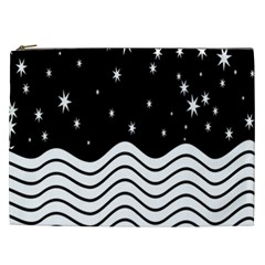 Black And White Waves And Stars Abstract Backdrop Clipart Cosmetic Bag (xxl)  by Amaryn4rt