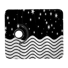 Black And White Waves And Stars Abstract Backdrop Clipart Galaxy S3 (flip/folio) by Amaryn4rt