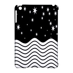 Black And White Waves And Stars Abstract Backdrop Clipart Apple Ipad Mini Hardshell Case (compatible With Smart Cover) by Amaryn4rt