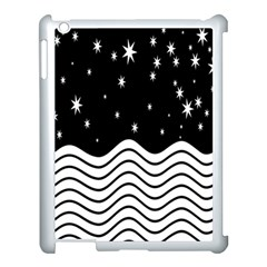 Black And White Waves And Stars Abstract Backdrop Clipart Apple Ipad 3/4 Case (white) by Amaryn4rt