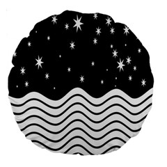 Black And White Waves And Stars Abstract Backdrop Clipart Large 18  Premium Round Cushions by Amaryn4rt