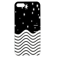 Black And White Waves And Stars Abstract Backdrop Clipart Apple Iphone 5 Hardshell Case With Stand by Amaryn4rt