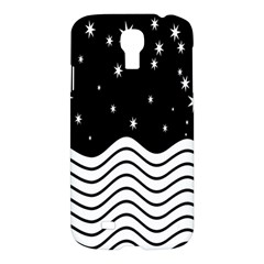 Black And White Waves And Stars Abstract Backdrop Clipart Samsung Galaxy S4 I9500/i9505 Hardshell Case by Amaryn4rt