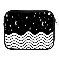 Black And White Waves And Stars Abstract Backdrop Clipart Apple Ipad 2/3/4 Zipper Cases by Amaryn4rt