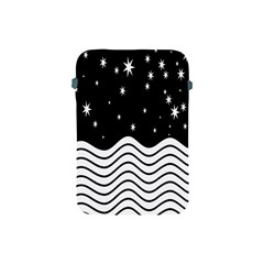 Black And White Waves And Stars Abstract Backdrop Clipart Apple Ipad Mini Protective Soft Cases by Amaryn4rt