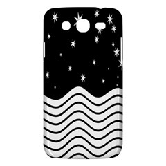 Black And White Waves And Stars Abstract Backdrop Clipart Samsung Galaxy Mega 5 8 I9152 Hardshell Case  by Amaryn4rt
