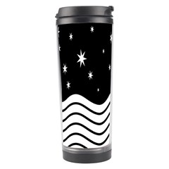 Black And White Waves And Stars Abstract Backdrop Clipart Travel Tumbler by Amaryn4rt