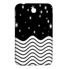 Black And White Waves And Stars Abstract Backdrop Clipart Samsung Galaxy Tab 3 (7 ) P3200 Hardshell Case  by Amaryn4rt