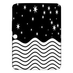 Black And White Waves And Stars Abstract Backdrop Clipart Samsung Galaxy Tab 3 (10 1 ) P5200 Hardshell Case  by Amaryn4rt